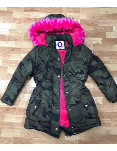 parka militaire fourrure fushia fille 4 a 14 ans impermiable. Black Bedroom Furniture Sets. Home Design Ideas