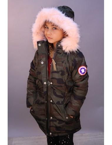 Parka Militaire Fourrure Rose Fille 4 a 14 ans