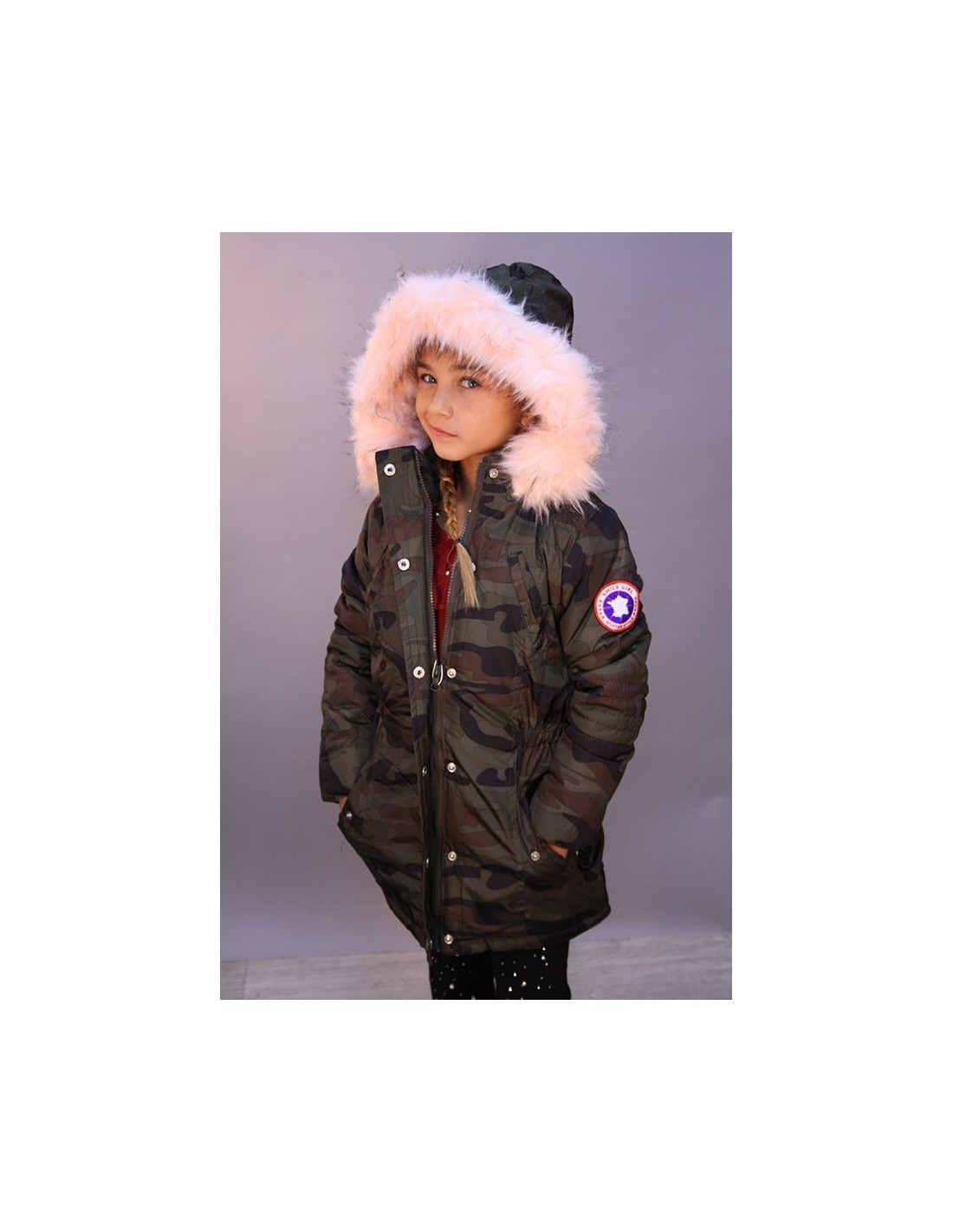 parka militaire fourrure rose fille 4 a 14 ans mode parka. Black Bedroom Furniture Sets. Home Design Ideas
