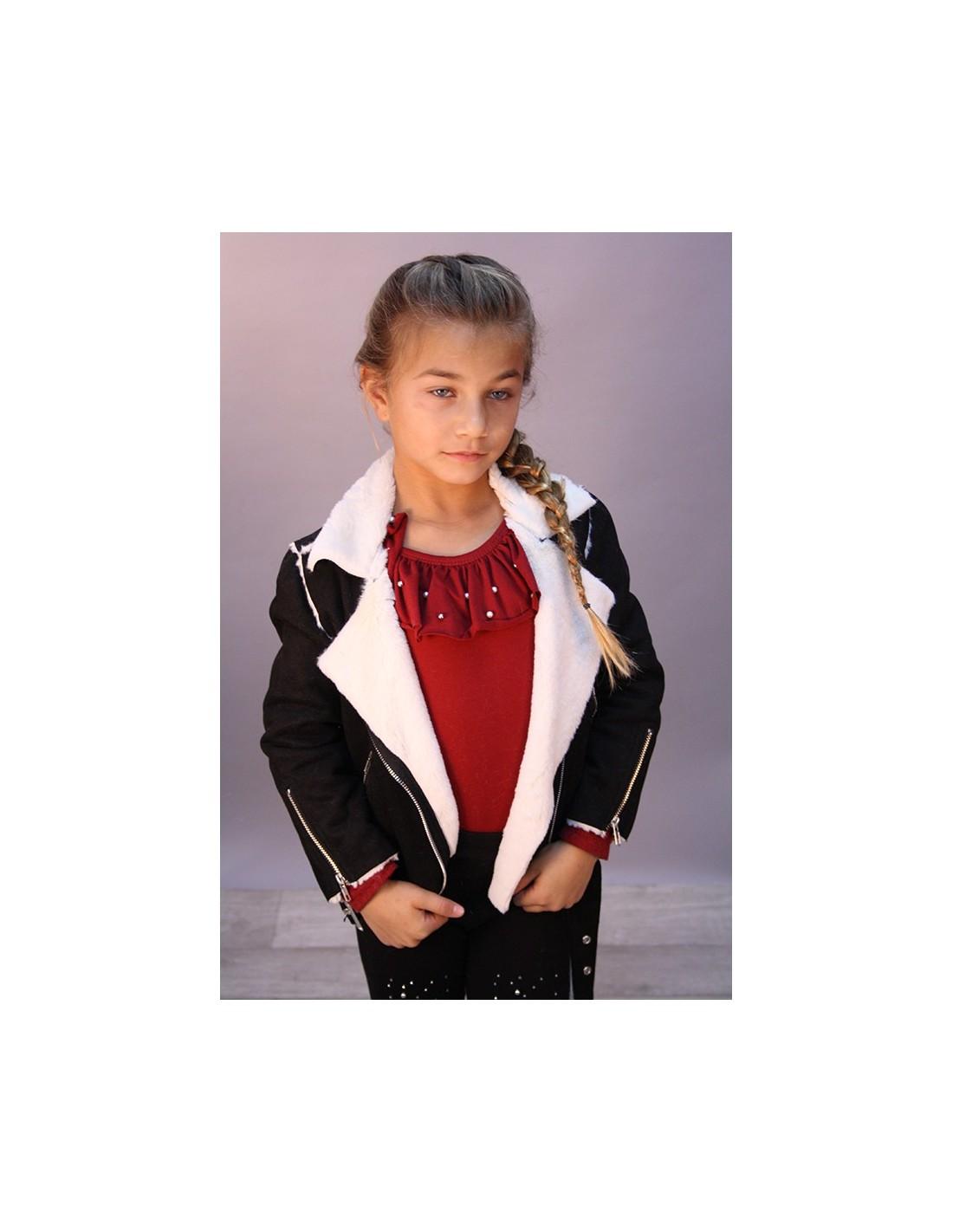 veste peau 17m004 fille 1 12 ans mode veste fashion. Black Bedroom Furniture Sets. Home Design Ideas