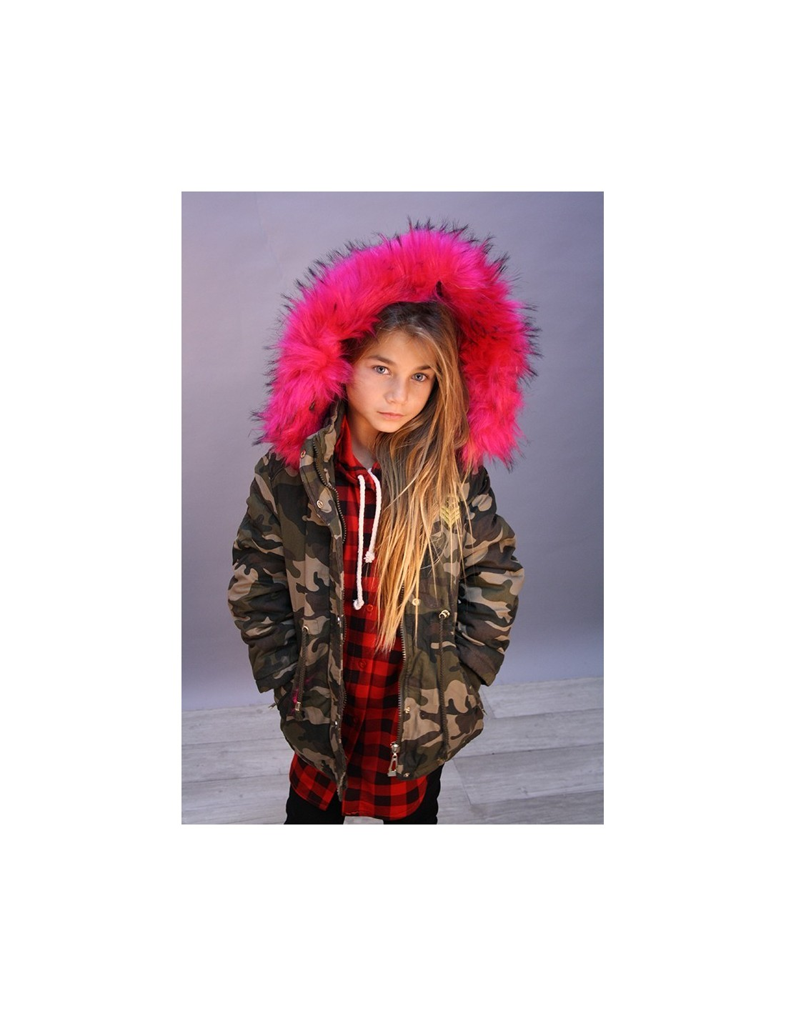 parka militaire fourrure fushia fille 4 a 16ans mode parka. Black Bedroom Furniture Sets. Home Design Ideas