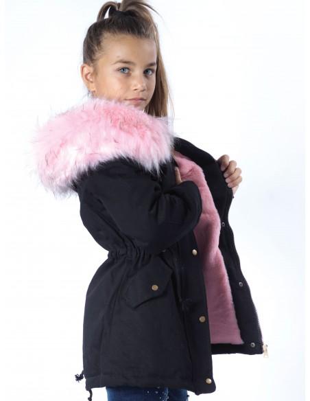 Veste Fourrure Noir/Rose Fille 4 à 14 ans