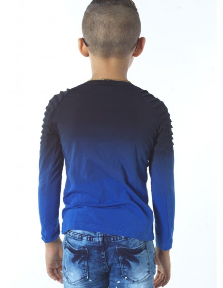 Tshirt bicolore BLEU G013 Garçon 4 à 14ans