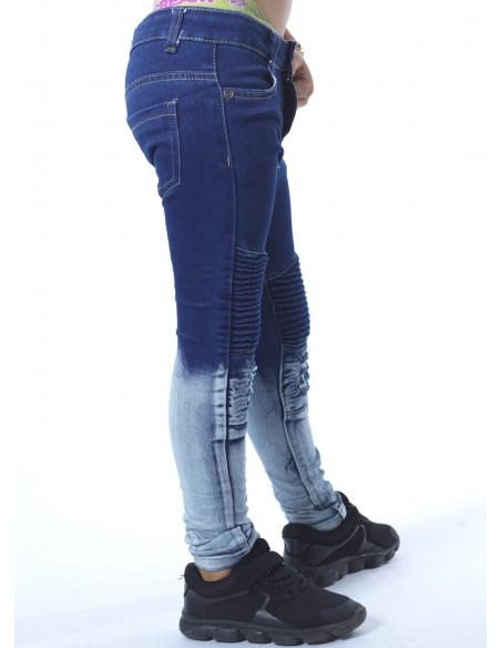 Jeans biker bicolore BLEU 18018 Garçon 4 à 14ans
