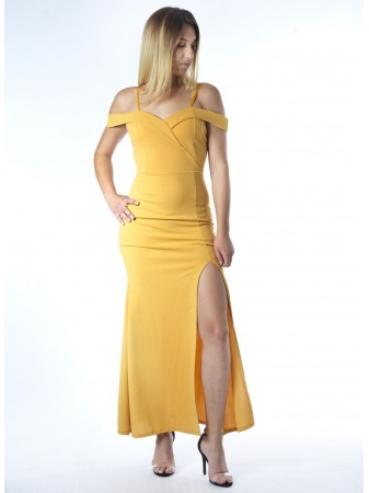 Robe longue MOUTARDE 22003 Femme