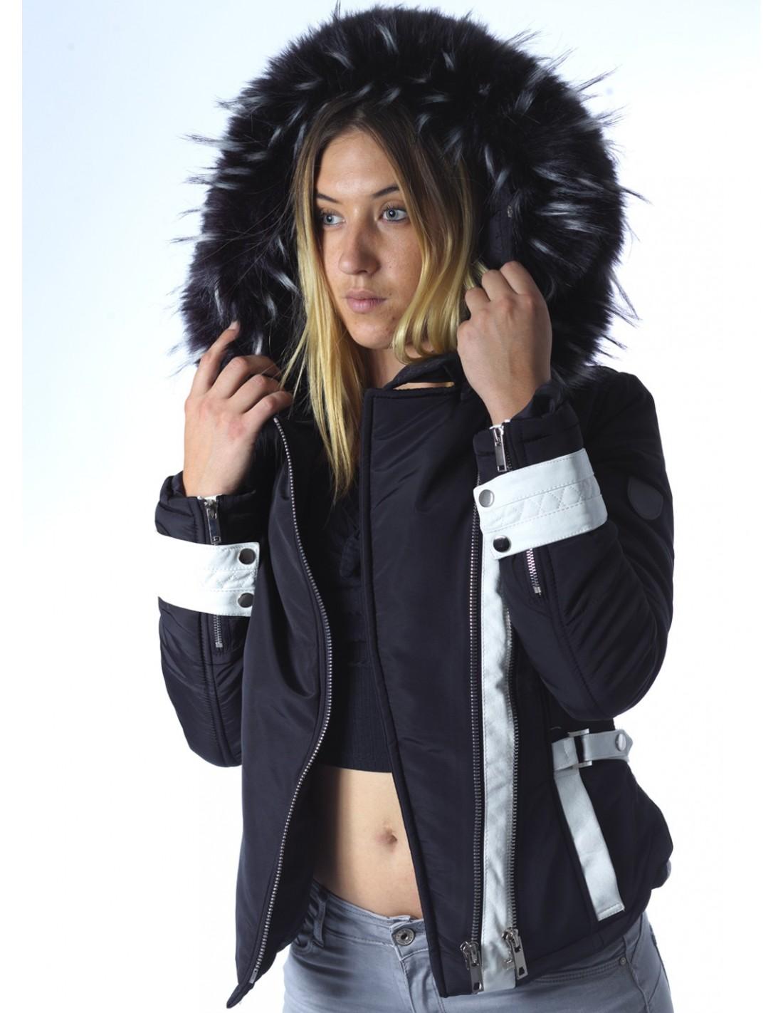 Veste mode Ws970 Noire Fourrure Femme Capuche Zerda rMrzB6
