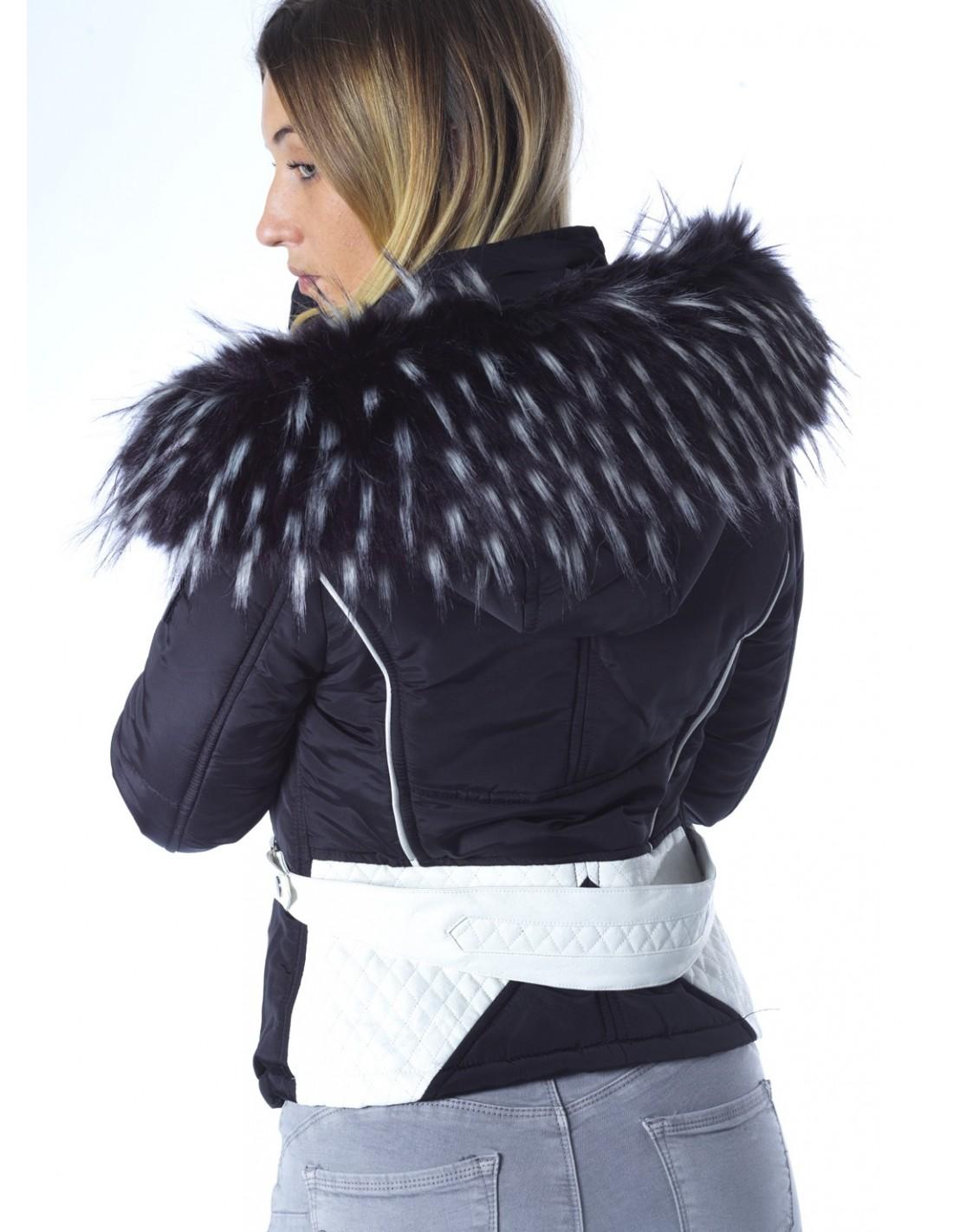 Veste fourrure noir capuche femme
