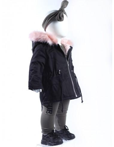 Parka fourrure rose NOIRE 16BM006 Baby Fille