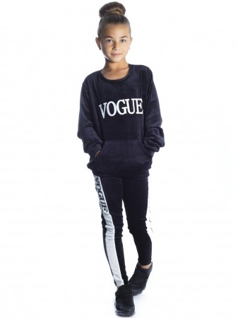 Ensemble Vogue velour NOIR F244 Fille 2 à 12 ans