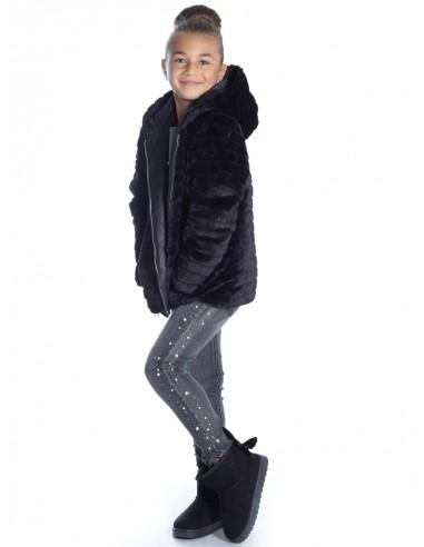 Veste Fourrure capuche NOIRE V95 Fille 4 à 14 ans