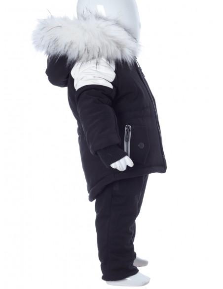 Parka Noir/Blanc Fourrure Blanche G002 Bébé 6 Mois au 6 Ans