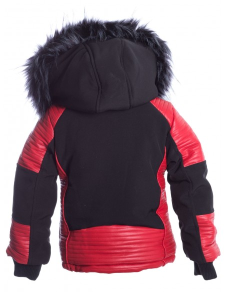 Parka Noir/Rouge Fourrure Noire G003 Enfant de 1 à 12 ans