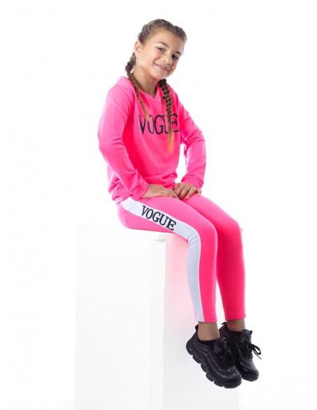 Ensemble VOGUE fluo F016 Rose Fille 4 à 14 ans
