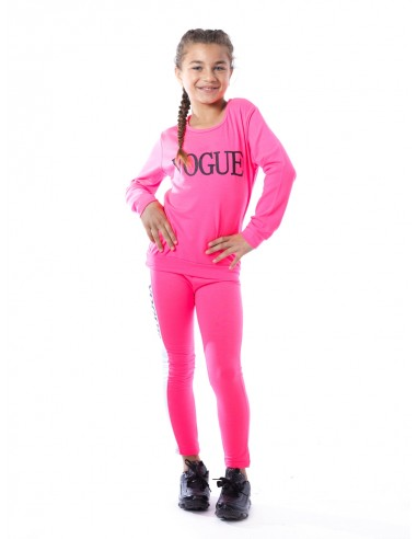 Ensemble VOGUE fluo F016 Rose Fille 4 à 14 ans