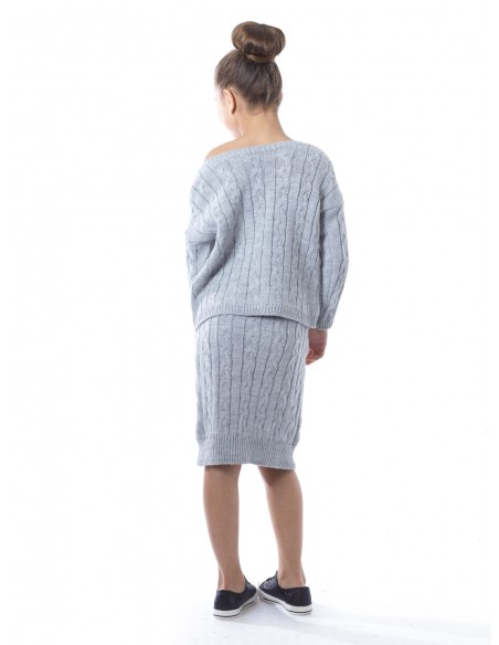 Ensemble jupe laine 6022 Gris Fille 4 à 14 ans