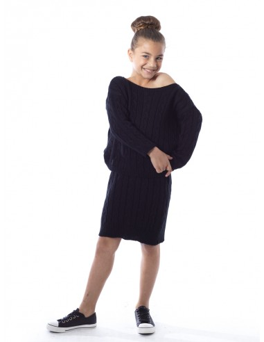 Ensemble jupe laine 6022 Noir Fille 4 à 14 ans