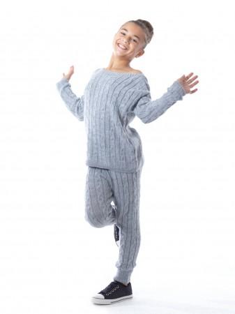 Ensemble pull/caleçon laine 6019 Gris Fille 4 à 14 ans