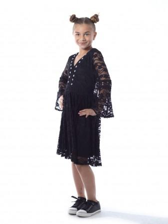 Robe dentelle R1903 Noir Fille 2 à 12 ans