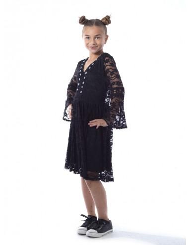 Robe dentelle R1903 Noir Fille 4 à 14 ans