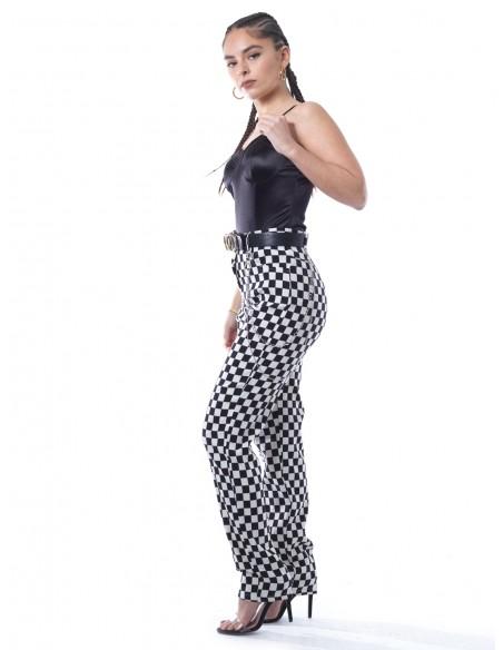 Pantalon damier chaine 5122 Femme