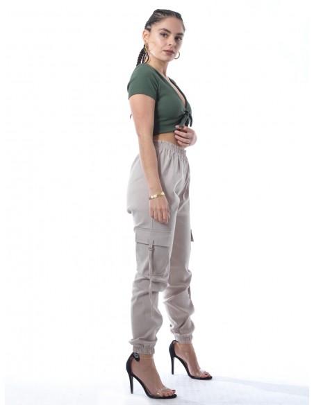 Crop top uni 20394 Vert Femme