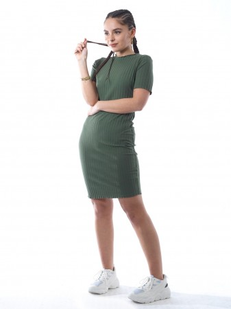 Robe uni lycra 1188/1 Vert Femme