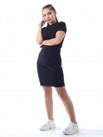 Robe uni lycra 11887/1 Noir Femme