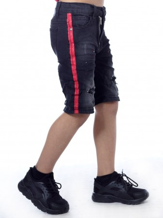 Short jeans bande SN814 Noir Garçon 4 à 14 ans