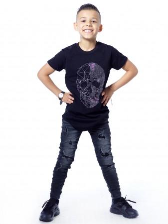T-shirt strass tete de mort 51155 Noir Garçon 4 à 14 ans