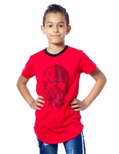 T-shirt strass tete de mort 51155 Rouge Garçon 4 à 14 ans