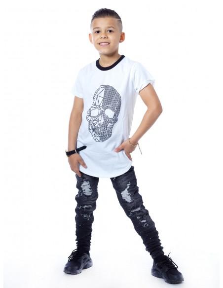 T-shirt strass tete de mort 51155 Blanc Garçon 4 à 14 ans