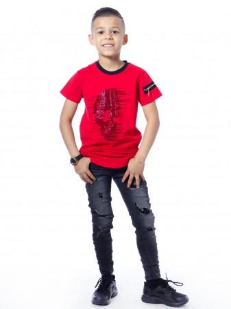 T-shirt tete de mort 51153 Rouge Garçon 4 à 14 ans