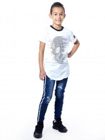 T-shirt tete de mort 51153 Blanc Garçon 4 à 14 ans