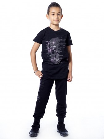 T-shirt tete de mort 51153 Noir Garçon 4 à 14 ans