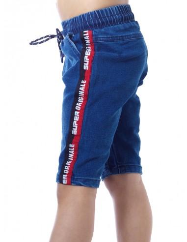 Short jeans T01 Bleu Garçon 4 à 14 ans