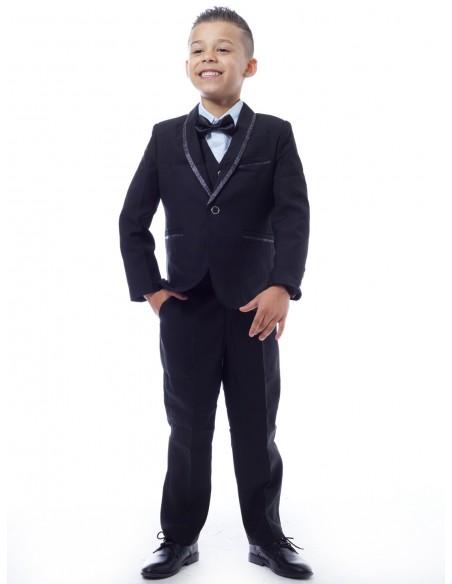 Costume 3 pièces complet Noir Garçon 4 à 14 ans