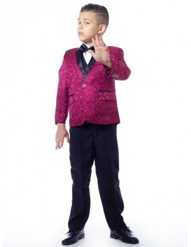 Costume 3 pièces complet Bordeau Garçon 4 à 14 ans