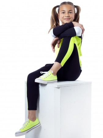 Ensemble jogging F034 Jaune Fille 4 à 14 ans