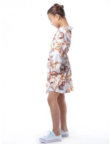 Robe imprimée 28539 Blanc Fille 4 à 14 ans
