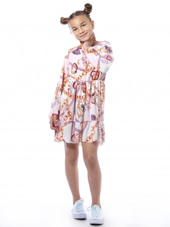 Robe imprimée 28539 Rose Fille 4 à 14 ans