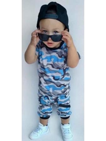 Ensemble Short militaire Bleu Bébé Garçon 3 mois à 4 ans