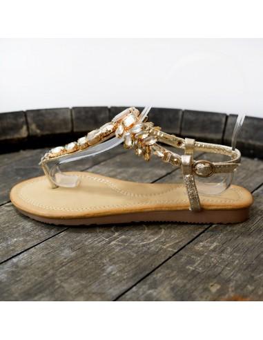 Sandale strass F3171 Gold Femme
