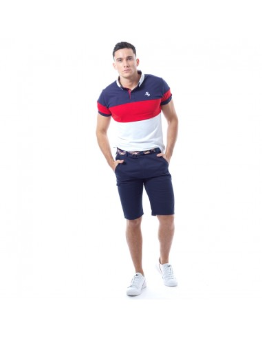 Polo tendance tricolore Homme