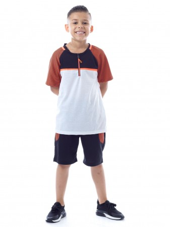 Ensemble Short K151 Orange Garçon 4 à 14ans