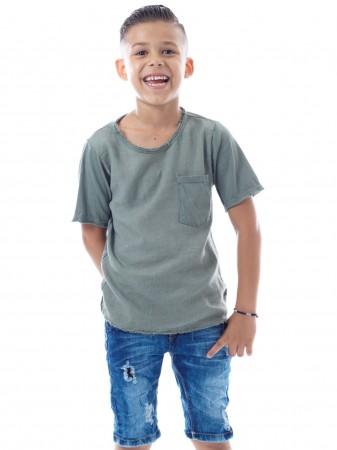 T-shirt Lain Vert Garçon 4 à 14 ans