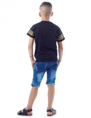 T-shirt Renaissance SHY1039 Noir Garçon 4 à 14 ans