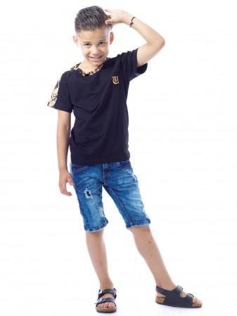 T-shirt Baroque SHY1040 Noir Garçon 4 à 14 ans