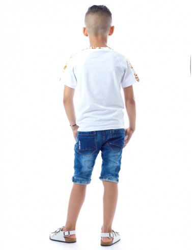 T-shirt Baroque SHY1040 Blanc Garçon 4 à 14 ans