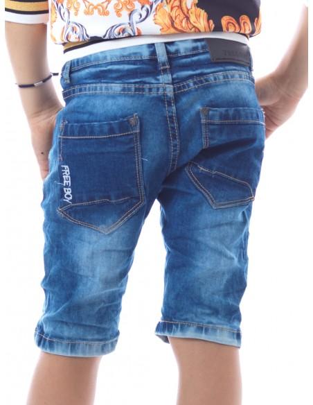 Short Jeans 9701 Bleu Garçon 4 à 14 ans