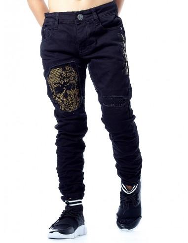 Jeans tete de mort 96698 NOIR/OR Garçon 4 à 14ans